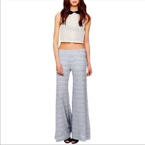 4 FP FREE PEOPLE Gray Lace Wide Leg Pants festival